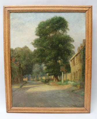 FLORENCE WILMOT A first quarter 20th century Oil on canvas, Study of gentlemen at repose beneath the Stucks Elm at Mickleton Gloucestershire with the Kings Arms Public House in the foreground, inscribed en verso and dated 1922, in moulded wood frame, 52cm x 40.5cm