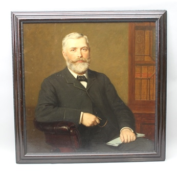 EDWARDIAN ENGLISH SCHOOL A portrait study of a Gentleman of substance, in seated pose, wearing a morning suit, considered to be a lawyer with reference to the books in the background), an Oil on board, 91cm square in a stained moulded frame