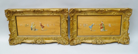 PAULINE APPERT Georgian Manners depicting 18th century courtly figures, Oil paintings on wood panels, a pair, signed, 16cm x 33cm in ornate gilt frames