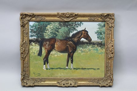 MALCOLM COWARD Equestrian scene, horse in a summer landscape, an Oil on canvas, signed, 44cm x 60cm in an ornate gilt frame