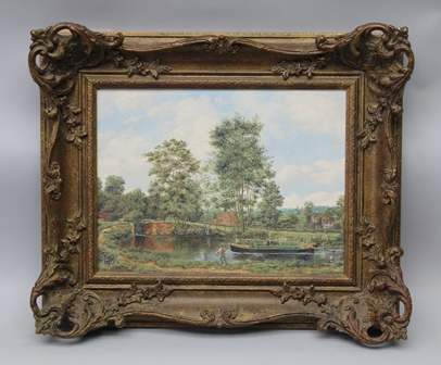 BRIAN TOVEY Lapworth Flight, Stratford Canal, an Oil on canvas, signed, 29cm x 39cm in an ornate gilt frame