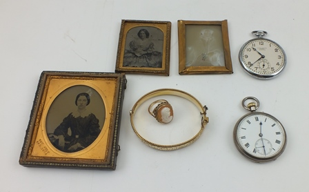A 9CT GOLD CAMEO SET LADYS DRESS RING, a gold filled BANGLE, two POCKET WATCHES and three 19th century photographic portraits of ladies