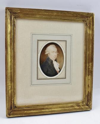 WILLIAM HODGES (1744-1797) Portrait miniature of a gentleman wearing a frock coat, white cravat and powdered wig, Watercolour, 7.5cm x 5.5cm