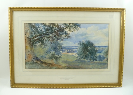 WILLIAM BENNETT R.I.(1811-1871) A View Across The Weald of Kent Watercolour painting, signed, 25cm x 46cm in gilt glazed frame, mount inscribed (see label verso)
