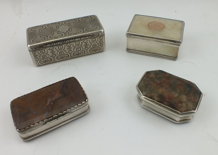 FOUR 19TH CENTURY SNUFF BOXES, one from the Austro-Hungarian Empire, white metal with engraved and engine turned decoration, gilded interior, Prague 1857, 8.75cm wide, together with two agate panelled ones and a French one circa 1850 inset decoratedmother-of-pearl panels