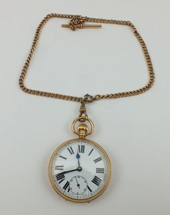 A 9CT GOLD CASED GENTLEMANS OPEN FACE POCKET WATCH, having white dial with Roman numerals, together with a GOLD PLATED DOUBLE ALBERT WATCH CHAIN