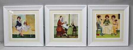 ROSIE LIPPETT Three artists proof colour Prints The Good Listener, Its only fruit and The Present, signed and titled to the margins, 44cm square mounted in plain white glazed frames