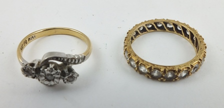 A DIAMOND SET ETERNITY RING, decoratively chased yellow metal band, size M, together with a DIAMOND RING in 18ct gold and platinum setting (2)