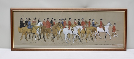 AFTER SNAFFLES  (Charles Johnson Payne 1884-1967) The Glad Throng That Goes Laughing Along, Study of a fox hunting field, includes ladies riding side saddle, a partial hand-coloured print, published by Fores of London 1913, 33cm x 101cm, in stained wood glazed frame