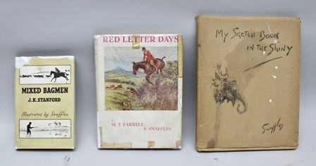 M.J. FARREL and SNAFFLES (CHARLIE JOHNSON PAYNE) Red Letter Days, 1933, inscribed C.J. Payne, Hill Farm, Winterbourne Stoke and also Orchard Cottage, Tisbury (Snaffles own book) and signed Snaffles on half title page, J.K. Stanford MixedBagmen, 1947, illustrated by Snaffles and signed by both author and illustrator on title page, and Snaffles My Sketch Book i n the Shiny N.D. (1930), all with dustwrappers (3)