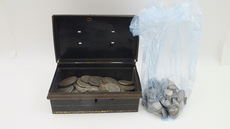A QUANTITY OF VICTORIAN SILVER CROWNS, THREE PENCE BITS AND OTHER SILVER BRITISH COINAGE pre 1920