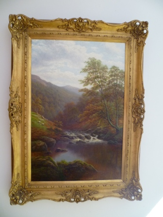 WILLIAM MELLOR (1851-1931) On the Rothay, Westmorland, Oil on canvas, signed lower left, 74cm x 48cm in ornate gilt frame