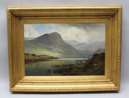 ALFRED DE BREANSKI, SNR. (1852-1928) Loch Ness (shepherd and sheep in the foreground) Oil painting on canvas, signed lower left, 50cm x 75cm in gilt frame with egg and dart moulded edge
