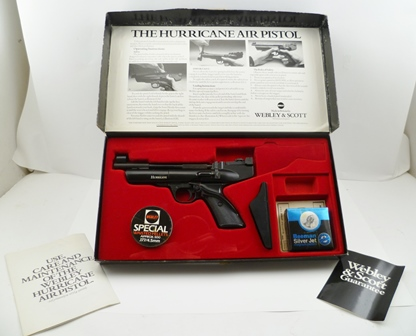 A WEBLEY & SCOTT, HURRICANE .177 AIR PISTOL in original box (vendors provenance, the last one made off the production line, at the Birmingham factory)