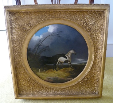 JOHN FREDERICK HERRING JNR (1815-1907) Horses startled by lightening, Oil on canvas, signed and dated 1840, on a rectangular canvas 40cm square, the gilt gesso frame tondo mounted, 39cm diameter