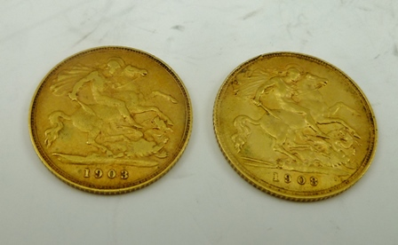 TWO EDWARD VII HALF SOVEREIGNS dated 1903 and 1908