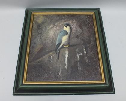 DICK TRELEAVEN Peregrine Falcon Black Rock, Oil on board, signed, 43cm x 39cm, in painted wood frame