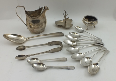 A COLLECTION OF MISCELLANEOUS SILVER WARES, includes a Georgian milk jug, a Victorian salt, various spoons and a ring tree, combined weight, 526g.