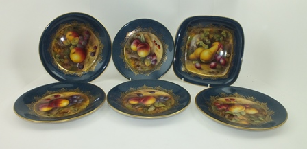 A ROYAL WORCESTER PORCELAIN PART DESSERT SERVICE, having gilded blue borders each with a painted panel of fruit, signed by H. Price, comprising 4 x plates 24cm diameter, 1 x serving bowl 24cm diameter, and 1 x square form dish 24cm square, puce printed factory mark and date code for 1926