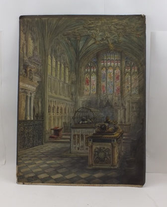 WILLIAM WELLS QUATREMAIN (1857-1930) The Beauchamp Chapel in the Collegiate Church, St Marys Warwick, a Watercolour painting, signed and dated 1918, 49cm x 36cm, unframed