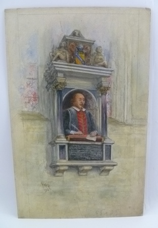 WILLIAM WELLS QUATREMAIN (1857-1930) Shakespeares Monument, Holy Trinity Church, Stratford-upon-Avon, (set in the north wall of the chancel, believed to be the work of Gheerart Janssen), a Watercolour painting, signed in monogram and dated 1916,36cm x 23cm, unframed