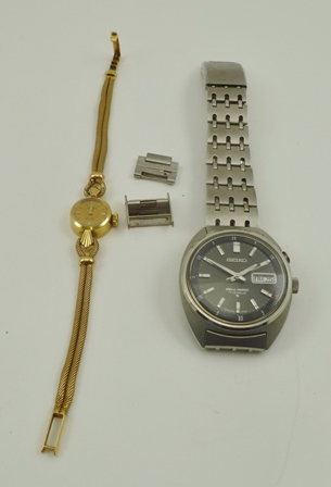 A LADYS ROLEX ORCHID COCKTAIL WATCH with cord effect strap, together with a GENTLEMANS SEIKO BELL-MATIC WRIST WATCH, stainless steel (2)