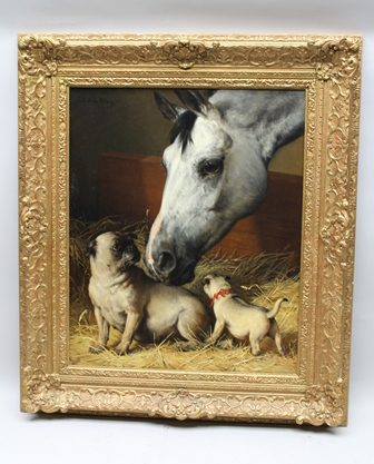 JULIUS VON BLAAS (1845-1922) The Uninvited Guests, depicting a grey horses head investigating two pug dogs in its manger, Oil on canvas, signed upper left, 70cm x 57cm in ornate gilt frame (Paperwork supplied by vendor including receipt from Colin Stodgell Fine Art, dated 1997)