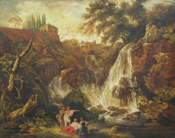 AFTER THE ITALIAN SCHOOL A Cascading Waterfall four figures at the base of a falls with classical buildings at the top, Oil on Canvas, unsigned, 79cm x 98cm in deep moulded gilt frame