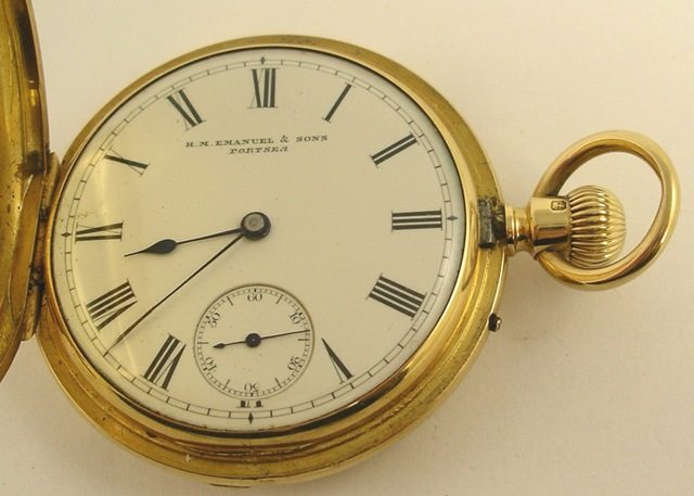 H.M. EMANUEL & SONS 12 & 13 ORDNANCE ROW, PORTSEA A VICTORIAN 18CT GOLD HUNTER CASED GENTLEMAN'S POCKET WATCH having three-quarter plate English lever mechanism with compensation balance, faced by a Roman calibrated enamel dial, London 1862