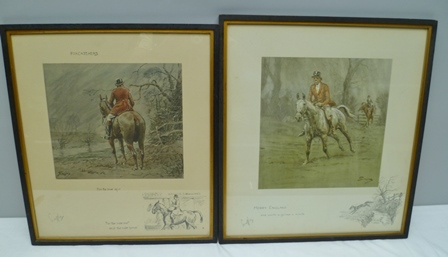 CHARLIE JOHNSON PAYNE, SNAFFLES (British 1884-1967) Merry England And Worth a Guinea a Minute, printed and hand coloured, signed in pencil with Snaffles bit blind stamp, 43.75cm x 39.5cm and ANOTHER similar Foxcatchers For the Love of It,For The Ride Out and The Ride Home, 42cm x 37cm, framed