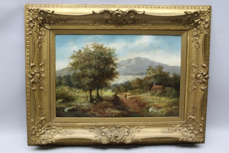 R. MARSHALL An Extensive Landscape with Distant mountain and Figure on the Path, Oil painting on canvas, signed, 50cm x 75cm, in ornate gilt frame