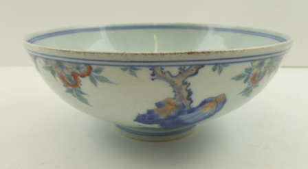 A CHINESE KANGXI PORCELAIN BOWL, Douchai decoration with prunus and goldfish, character marks to base, 19.5cm diameter