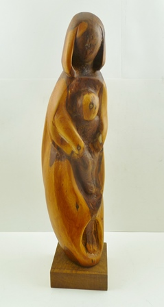 CONSTANCE ANNE PARKER (1921-2016) Madonna, an organic form wood carving in yew, raised upon an oak block (Parker studied at The Royal Academy 1946-51, staying on as Librarian), total height 58cm high