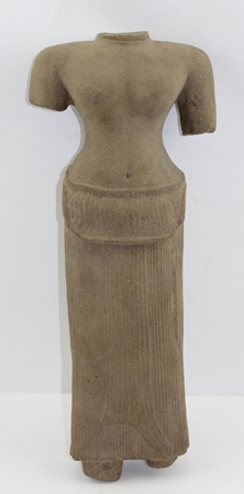 A SANDSTONE FIGURE OF UMA, ANGKOR WAT 13TH CENTURY, a female torso, wearing long pleated skirt (ex. Collection Dr. N.O. Danish Diplomat to the U.N. in New York, a 1960s/70s South Asian Collector and Specialist), 41cm high