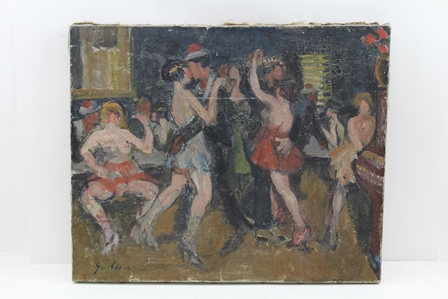 EARLY 20TH CENTURY FRENCH SCHOOL Bal Musette, depicting sailors and scantily clad ladies dancing, an Oil on canvas, indistinctly signed, 38cm x 46cm unframed