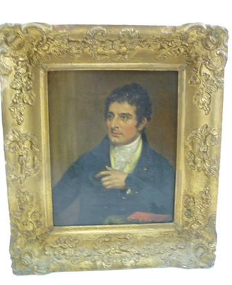 19TH CENTURY BRITISH SCHOOL A portrait study of a gentleman (possibly the Duke of Wellington), an Oil on canvas, 22cm x 18cm in an ornate gilt frame