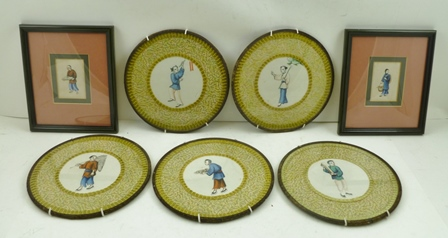 A COLLECTION OF FIVE 19TH CENTURY CHINESE WATERCOLOUR PAINTINGS on pith paper, each depicts a character such as a fisherman, servant, etc., 10cm diameter within silk surrounds and glazed tin frames, together with TWO RECTANGULAR ONES SIMILAR in subject, 8cm x 5cm each framed (7)