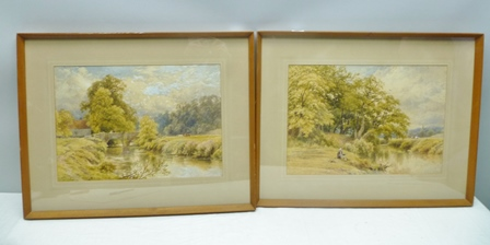 THOMAS JAMES SOPER (fl. 1836-1890) 19th century riverscape studies, one depicting a stone arched  bridge with cattle in a meadow, the other a man fishing on the bank, Watercolours, a pair, signed, 36cm x 52cm in decorative mounts and slender glazedwood frames
