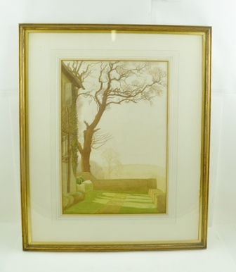 HENRY A. PAYNE  R.W.S. (1868-1940) Cotswold Autumn Morning, featuring the corner of a Manor House and a tree, a Watercolour, signed and indistinctly dated, possibly 1910, 44cm x 30cm mounted in a gilt glazed frame