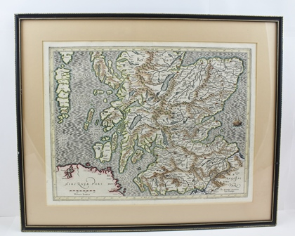 GERRADUM MERCATOREM (Gerard Mercator) A 17th century Map of Scotland, featuring The Hebrides, hand coloured, framed to reveal text verso, 35cm x 45cm, Hogarth framed and glazed