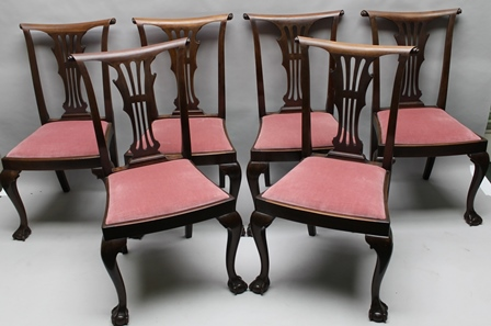 A SET OF SIX EDWARDIAN MAHOGANY SINGLE DINING CHAIRS, having pierced splat design with scroll end back rails, drop-in seats, raised on cabriole forelegs with ball and claw feet