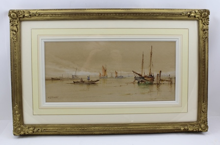 WILLIAM STEWART (1823-1906) Shipping Scene with Sail Barges, a punt with figures in the foreground, Watercolour painting, signed, 19cm x 40cm, mounted in ornate gilt glazed frame