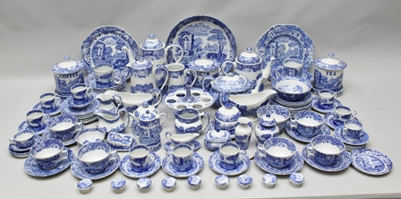 AN EXTENSIVE COLLECTION OF SPODE ITALIAN BLUE AND WHITE PRINTED TABLE CERAMICS, includes; coffee pot, coffee cans and saucers, teapot, teacups and saucers, serving plates, tea and coffee canisters, egg stand, jugs, also decorative items including; miniature cheese dish, cabinet knobs etc.