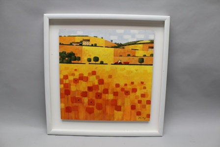 ALAN PARRY AN ACRYLIC ON HARD BOARD STUDY of farmland with poppies to the fore, titled Poppy Field 2 61cm square, signed open box mounted and finished in white (ARR payable on this lot)
