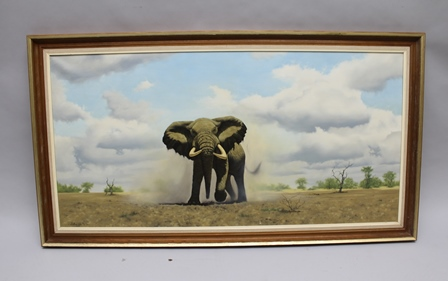 ANTHONY GIBBS A 20th century acrylic on canvas study of a charging bull elephant, signed and dated 74, 49cm x 100cm, in period frame with Colmore Galleries label en verso
