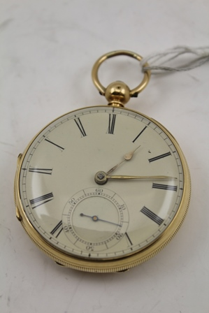 A 19TH CENTURY 18CT GOLD CASED GENTLEMANS OPEN FACE POCKET WATCH, having Roman numerals with secondary dial, movement engraved no.17819, key wind with key in an 18ct gold case, Chester 1862 with hanging loop, total weight 116g