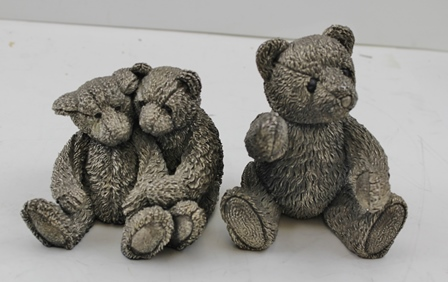 A SILVER TEDDY BEAR, Birmingham 1994 10cm high, together with a PAIR OF SILVER TEDDY BEARS, Birmingham 1994, Country Artists, filled, gross weight, 1106g