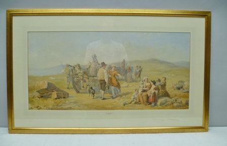 JOHN ABSOLON (1815-1895) The Peat Gatherers, Watercolour painting in gilt frame, mounted and glazed, 42cm x 87cm