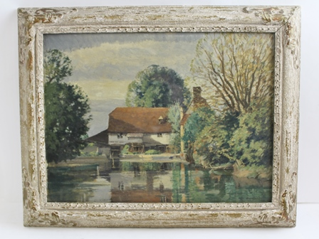 ERNEST HERBERT WHYDALE (1886 - 1952) Sheene Mill, Melbourne, Oil painting on board, signed Whydale, 30cm x 40cm, in partial gilt glazed frame