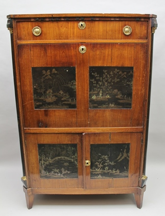 A 19TH CENTURY FRENCH ESCRITOIRE BUREAU A ABBATANT, mahogany veneer, the canted sides with brass mounted Corinthian column mounts, fitted drawer over writing fall and two doors to base, inset chinoiserie mother-of-pearl inset panels, on squared tapering supports, 97cm wide x 146cm high